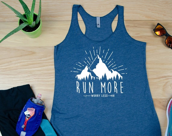 Run More Worry Less Racerback Tank | Super-Soft Workout Tank| Running Tank | Gift for Runner | Outdoors