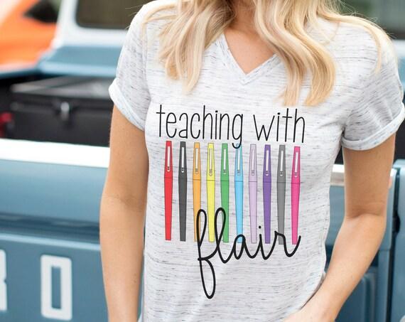 Teaching With Flair Teacher Unisex V-Neck Short Sleeve T-shirt | Vintage-Feel & Super-Soft | Teaching Tshirt | First Grade Teacher