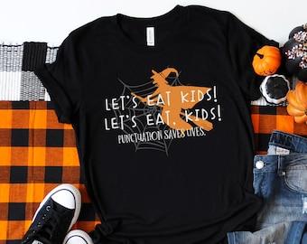 Let's Eat Kids Halloween Grammar Teacher T-shirt | Super-Soft, Vintage-Feel Tshirt | Halloween English Teacher Shirt | Punctuation Matters