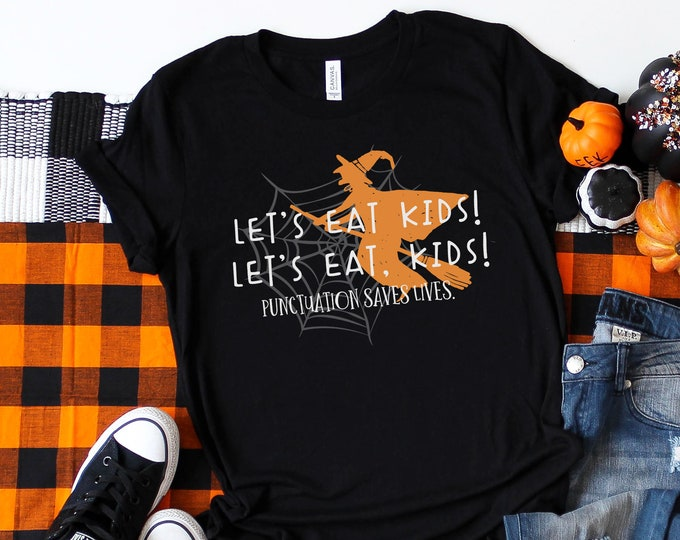 Let's Eat Kids Halloween Grammar Teacher T-shirt | Super-Soft, Vintage-Feel Tshirt | Halloween English Teacher Shirt | Punctuation Matters