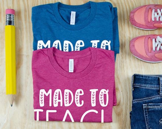 Made to Teach Cute Font Teacher Tshirt | First Grade, Second Grade | Gift for Teacher | Team Teacher Tee | Anchor Chart Expert