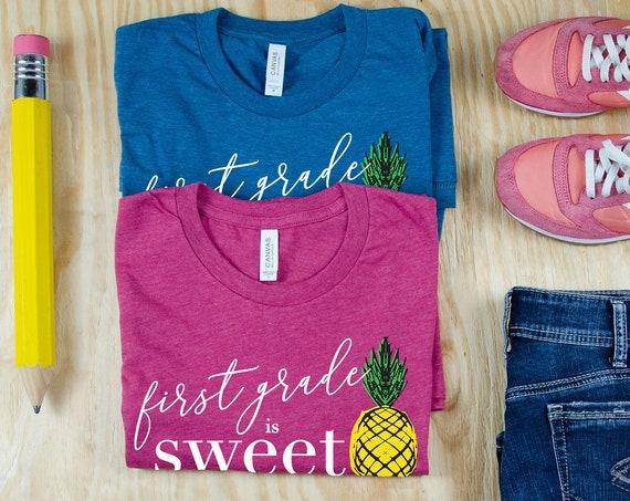 "Pineapple ""Any Grade Level"" is Sweet Teacher T-shirt | Grade Level Shirt | Super-Soft | Grade Level Tee | First Grade | Kindergarten"