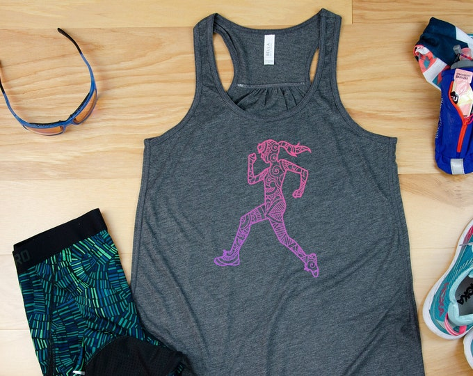 Girl Mandala Watercolor Runner Flowy Racerback Tank| Super-Soft Workout Tank | Gift for Runner | Gift for Mom Runner