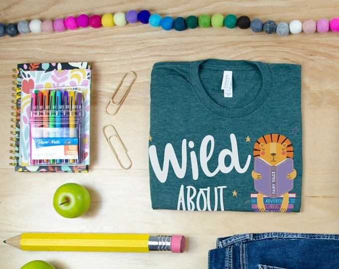 Wild About Reading Tiger Hand-Drawn Librarian & Reading T-shirt
