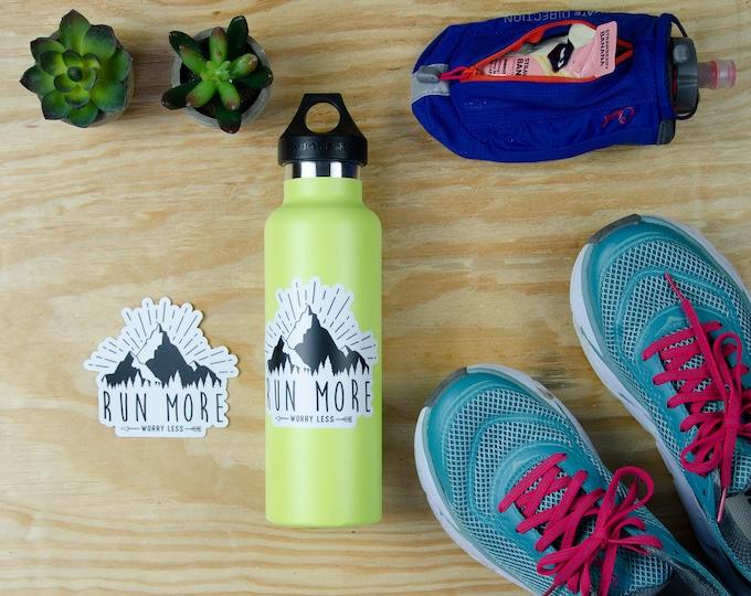 Running Sticker | Mountain Life | Run More Worry Less 3 x 2.71 inch Die Cut Vinyl Sticker | Runner Sticker