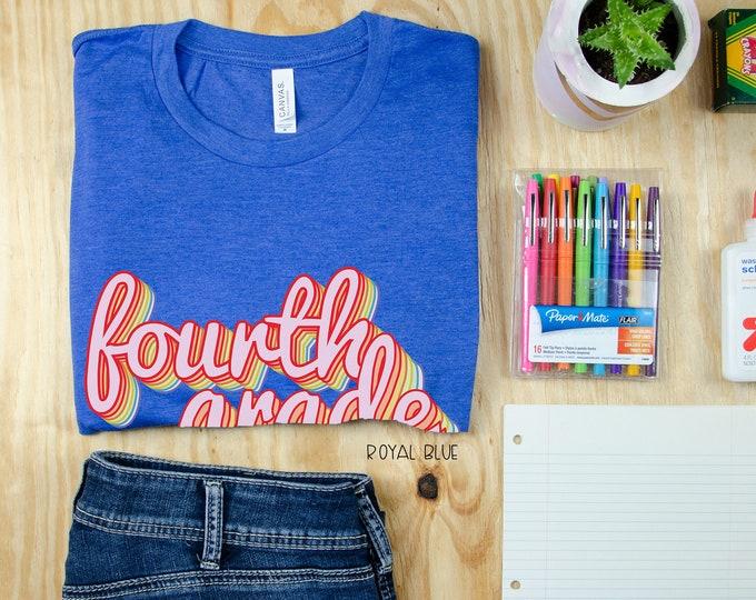 Fourth Grade Teacher Shirt Rainbow Retro Design | Grade Level Tshirt | Cute Team Shirt