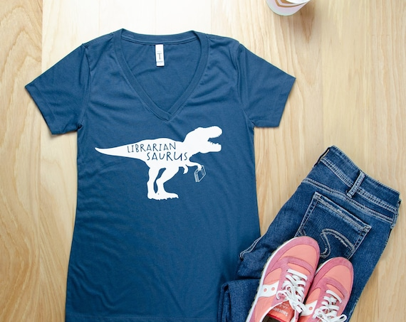 Librarian Saurus With T-Rex or Triceratops Librarian V-Neck or Crew T-shirt | Bookish Shirt | Library Tee