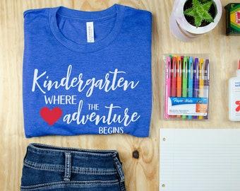 Kindergarten Where the Adventure Begins Teacher Short Sleeve Teacher T-shirt | Team Grade Level Shirt  | Team Teacher Tee
