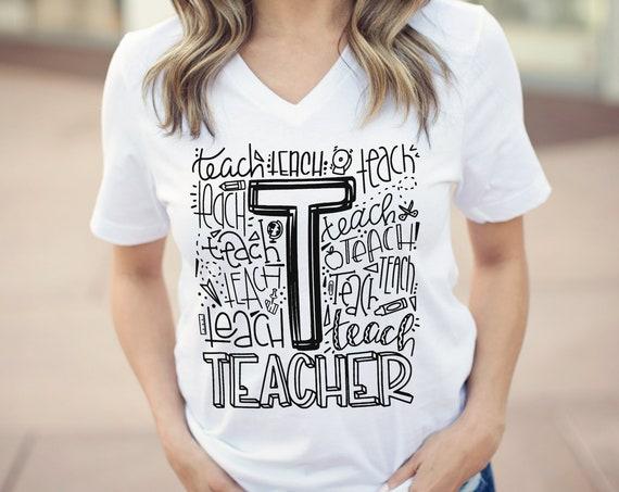 Teacher Hand Lettered Teacher Unisex V-Neck Short Sleeve T-shirt | Vintage-Feel & Super-Soft | Teaching Tshirt | First Grade Teacher