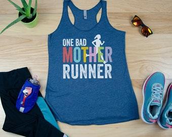 Running Tank | Runner | One Bad Mother Runner Racerback Tank| Super-Soft Workout Tank| Running Outdoors Trail | Gift for Mom Running
