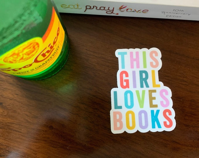 This Girl Loves Books Librarian & Reading 2.28 x 3 inch Die Cut Vinyl Sticker | Laptop Sticker | Car Vinyl | Librarian Sticker