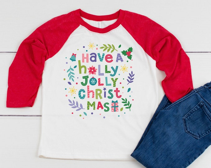 Youth Have a Holly Jolly Christmas Colorful 3/4 Sleeve Raglan | Super-Soft and Vintage-feel | Christmas Kids