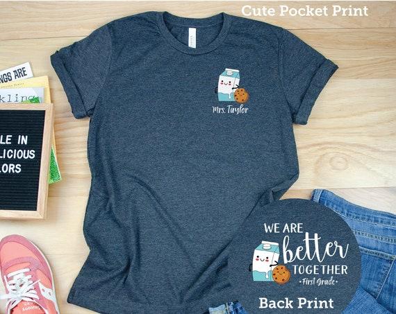 Cute K-6 Better Together Cookies & Milk Elementary Teacher T-shirt | First Grade, Second Grade, Third Grade Level Shirt | Personalized