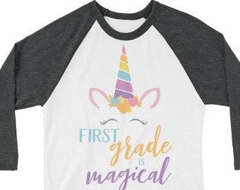 K-6 is Magical Teacher Tshirt | Super-soft 3/4 Sleeve Raglan T-shirt | Kindergarten Teacher | Grade Level | Unicorns First, Second, Third