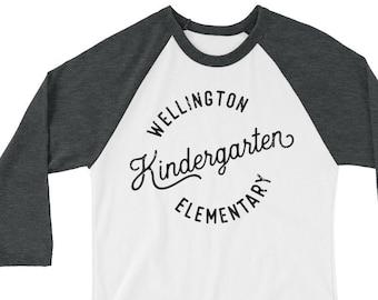 Kindergarten Vintage Style Teacher Tshirt   Super-soft 3/4 Sleeve Raglan T-shirt   Kindergarten Teacher    Elementary   First, Second Grade