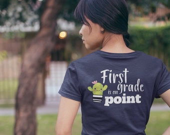 Cute Cactus Grade Level On Point Elementary Teacher T-shirt | Personalized and Available for Kindergarten, First Grade, and Beyond