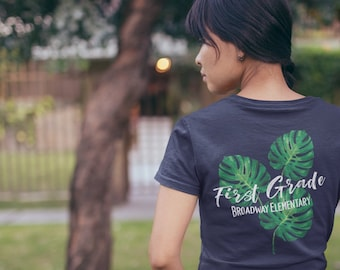 Tropical Palm Grade Level Elementary Teacher T-shirt | Available for Kindergarten, First Grade, Second Grade, and Any Grade