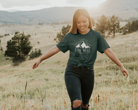 Run More, Worry Less Short Sleeve Unisex T-shirt | Trail Running | Running Gift | Marathon shirt