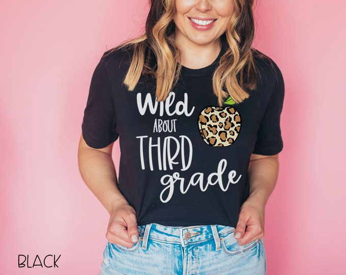 Wild About Leopard Print Apple for Any Grade Level | Vintage-Feel & Super-Soft | Teaching Tshirt | First Grade Teacher