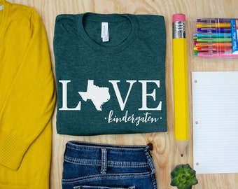 Teacher Shirt | Love State Customizable Unisex Teacher T-shirt | First Grade, Second Grade Level Shirt | Super-Soft  | Personalize
