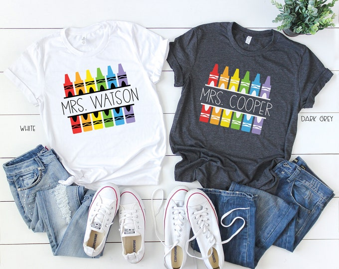 Crayon Teacher Name Short Sleeve T-shirt | Super-Soft | First Grade & Kindergarten