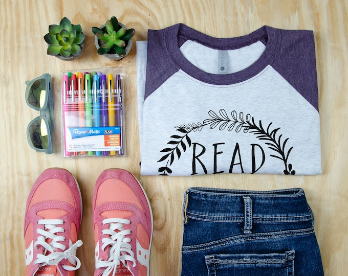 Read Return Repeat Librarian and Reading Tshirt | 3/4 Sleeve Raglan | Super-soft  T-shirt | Gift for Librarian or Bookish Reader
