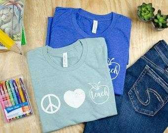 Vintage Peace, Love, and Teach Teacher T-shirt | Elementary Teacher Shirt | Super-Soft with Distressed Print | Apple Teacher