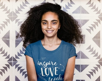 """Librarian """"Inspire Love Teach"""" Short Sleeve Tshirt   Super-Soft & Distressed   Library Science   Gift for Librarian"""