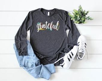 Grateful Fall Season with Leaves Unisex Long Sleeve Tshirt | Thanksgiving Farmhouse Style Shirt