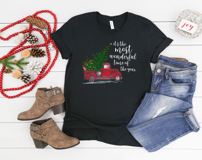 Christmas Tshirt It's the Most Wonderful Time of the Year with Vintage Red Truck | Unisex Short Sleeve Tshirt | Vintage Holidays