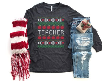 Merry Christmas Ugly Sweater Teacher With Apples Unisex Long Sleeve Tshirt | Christmas Shirt | Vintage Holidays