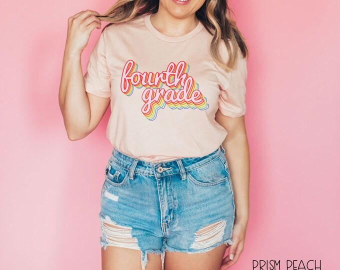 Teacher Shirt Rainbow Retro Design for Second, Third and Fourth, Fifth Grade | Grade Level Tshirt | Cute Team Shirt Elementary