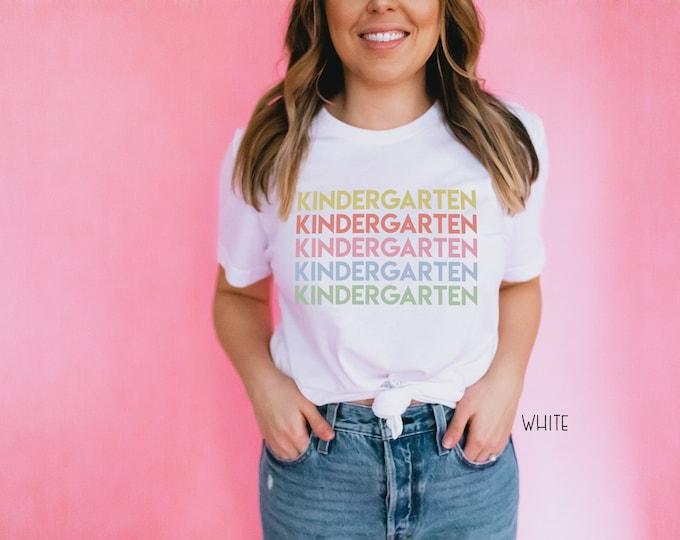 Kindergarten Repeated Text  Grade Level Teacher T-shirt | Modern Teacher Tshirt | Kinder Teacher Tee
