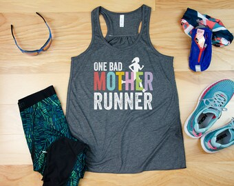 One Bad Mother Runner Flowy Racerback Tank| Super-Soft Workout Tank | Gift for Runner | Gift for Mom Runner