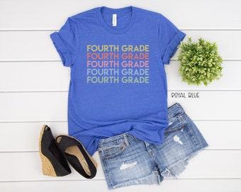 Fourth Grade Repeated Text Grade Level Teacher T-shirt | Modern Teacher Tshirt | Fourth Grade Teacher Tee
