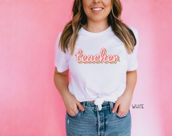 Teacher Shirt Rainbow Retro Design | Teacher Tshirt