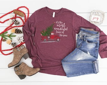 "It's the Most Wonderful Time of the Year ""Red Truck"" Unisex Long Sleeve Tshirt 