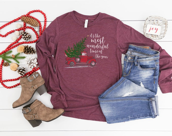 """It's the Most Wonderful Time of the Year """"Red Truck"""" Unisex Long Sleeve Tshirt 
