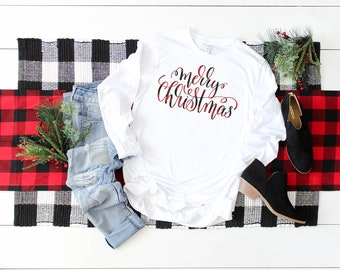 Plaid Merry Christmas Unisex Long Sleeve Tshirt | Christmas Shirt | Vintage Holidays