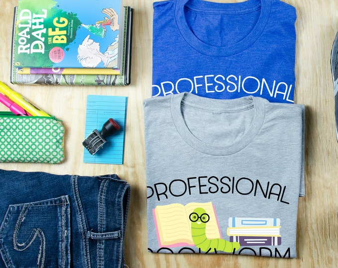 Professional Bookworm Cute Reading & Librarian T-shirt | Super-Soft, Vintage-Feel Tshirt | Gift for Librarians | Library Science