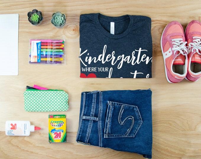 Kindergarten Adventure Unisex Teacher T-shirt | First Grade, Second Grade Level Shirt | Super-Soft