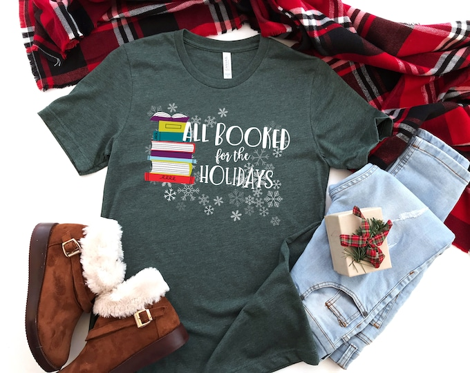 All Booked for the Holidays Christmas Librarian & Reading Tshirt