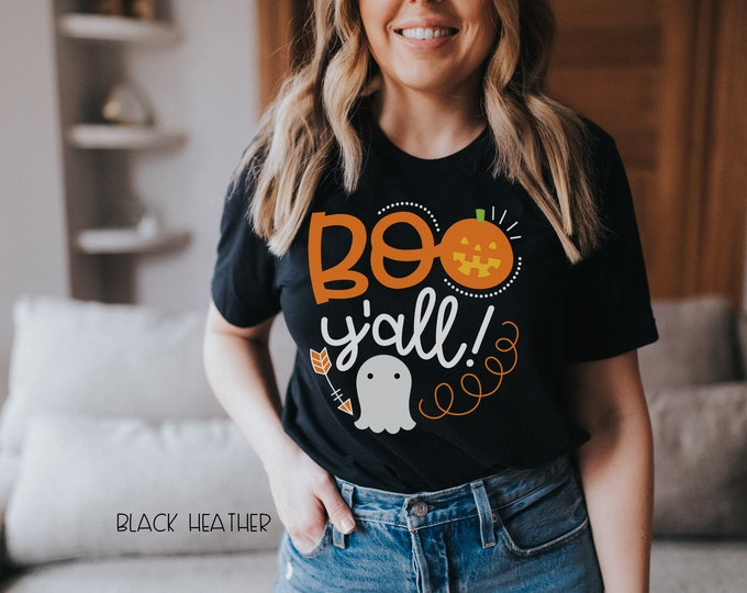 Boo Y'all Spooky T-shirt | Super-Soft, Vintage-Feel Tshirt | Cute Halloween Teacher Shirt