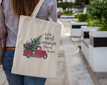 Red Truck The Most Wonderful Time of the Year Christmas Canvas Tote Bag | Book Bag | Winter