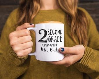 Teacher Mug with Name for Kindergarten through Sixth Grade - Personalized