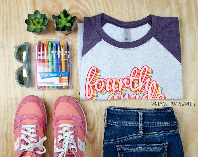 Retro Rainbow for K-5 Grade Level Teacher Tshirt | Super-soft 3/4 Sleeve Raglan T-shirt | Elementary Teacher | Team Teacher Shirt