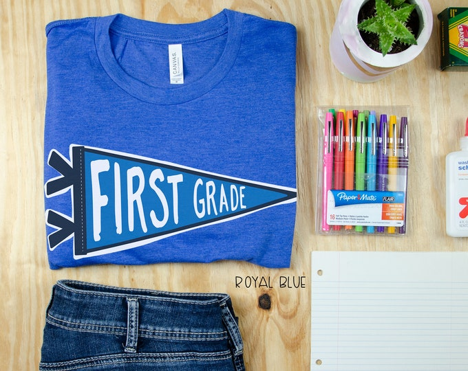 Teacher Shirt Cute Camp Pennant for First Grade and Kinder | Grade Level Tshirt | Cute Team Shirt Elementary