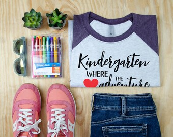 Kindergarten Where the Adventure Begins Teacher Tshirt | Super-soft 3/4 Sleeve Raglan T-shirt for Kindergarten Teachers