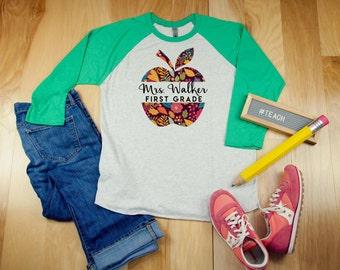 K-5th Grade Bright Floral Apple Personalized Teacher Tshirt | 3/4 Sleeve Raglan  Elementary | Kindergarten