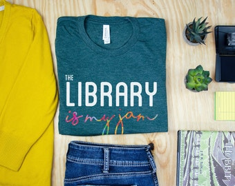 The Library is my Jam Short Sleeve Librarian T-shirt | Gift for Librarian